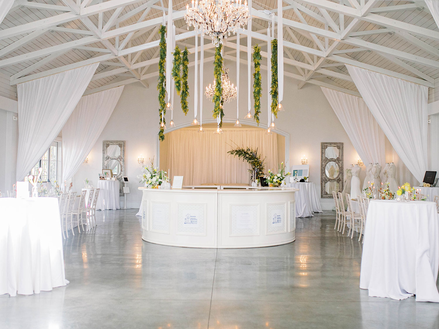 Merrimon Wynne Carriage House decked out in yellow, white and light blue florals